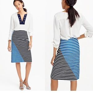 J crew blue Colorblock striped a line knee skirt